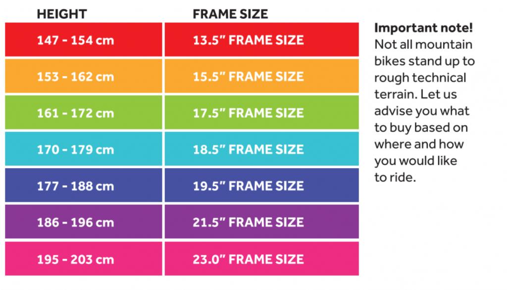Adult Mountain Bike Size Chart